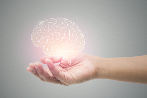 Picture of a brain hovering over a hand